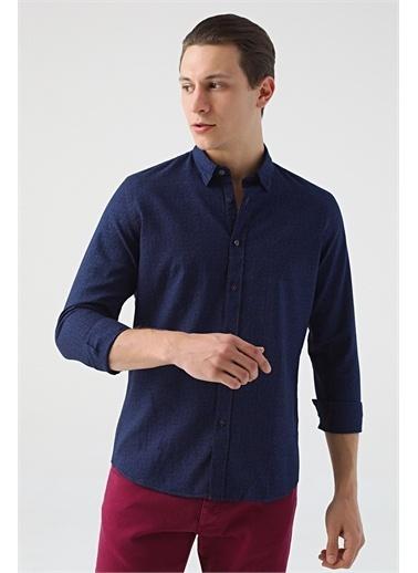 Tween Slim Fit Desenli Gömlek Lacivert